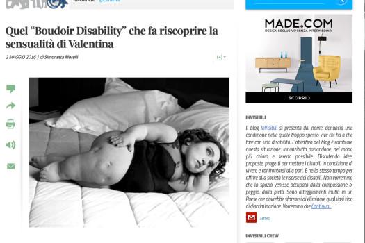 """Quel """"Boudoir Disability"""" che fa riscoprire la sensualità di Valentina"""